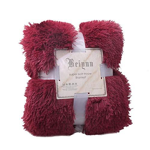 MALATA Nordic Soft Shaggy Pelz Plüschdecke Fuzzy Cosy Mit Fluffy Throw Decken Bett Sofa Doppeldeck Coral Blanket Geschenk, weinrot, 160x200cm