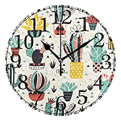 Cactus and Plant Collection 9.84 Silent Non Ticking Wall Clock Battery Operated PVC Round Numerals Clock Painting Decorative for Home, Living Room, Bedrooms Walls Decor