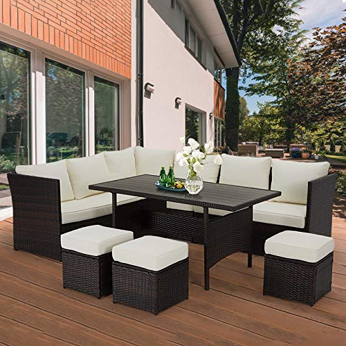 U-MAX 7 Pieces Outdoor Sofa Set, Wicker Rattan Patio Sectional Furniture Sets, Wicker Sectional Patio Set, Patio Dining Furniture with Table&Chair, White