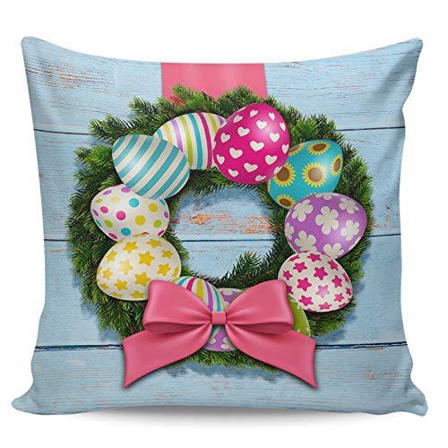 Fundas de almohada decorativas, graciosas corona de huevo de Pascua, bonito lazo retro de grano de madera azul ultra suave, funda de cojín cuadrada cómoda para sofá dormitorio, 45,72 x 45,72 cm