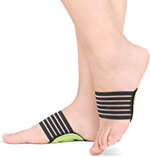 Arch Support Brace (Pair), Plantar Fasciitis Gel Strap for Men and Woman, Orthotic Compression Support Wrap Aids Foot Pain, High Arches, Flat Feet, Heel Fatigue, Insert for Under Socks and Shoes,Green