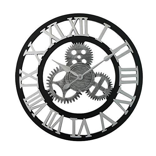 Fnho Moderno Reloj de Pared Mute,para Decorar La Oficina Casa Reloj de Pared,Reloj de Viento Industrial Retro, Reloj de Pared Creative Gear Mute-Plata a_40cm