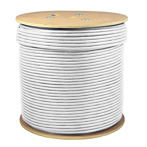 SolidLink 1000ft CAT6A S/FTP in-Wall (CMR Rated) UL Listed Bare Copper Solid 23AWG Conductor 550Mhz Fluke Tested Ethernet Wire (White)