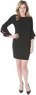T I A N A B. Tiana B Women's 3/4 Bell Sleeve Boat Neck Knit Bodycon Dress