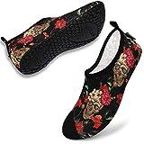 VIFUUR Zapatos de Agua Hombre Mujer Escarpines Zapatillas de Yoga Descalzos Secado rápido para bucear al Aire Libre en la Playa Flor del cráneo EU42/43