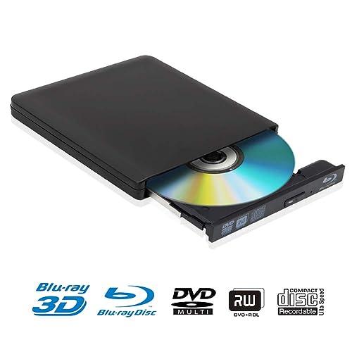 Lecteur DVD Blu Ray 4K 3D Externe Portable Ultra Slim USB 3.0 Graveur de CD-RW DVD-RW pour Mac OS, Linux, PC Windows XP/Vista / 7/8/10 Noir