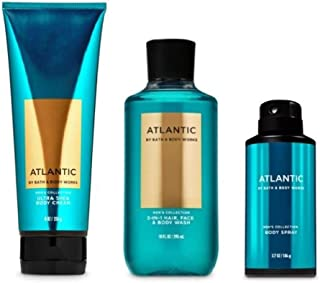 Bath and Body Works - Atlantic - Men's - 3 pc Bundle - Ultra Shea Body Cream, 2-in-1 Hair + Body Wash and Deodorizing Body Spray - (2020 Edition)