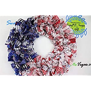 American Flag Rag Wreath, Flag Fabric Wreath, July 4th Wreath, Independence Day Wreath, Patriotic Flag Wreath, Memorial Wreath, Fabric Wreath,