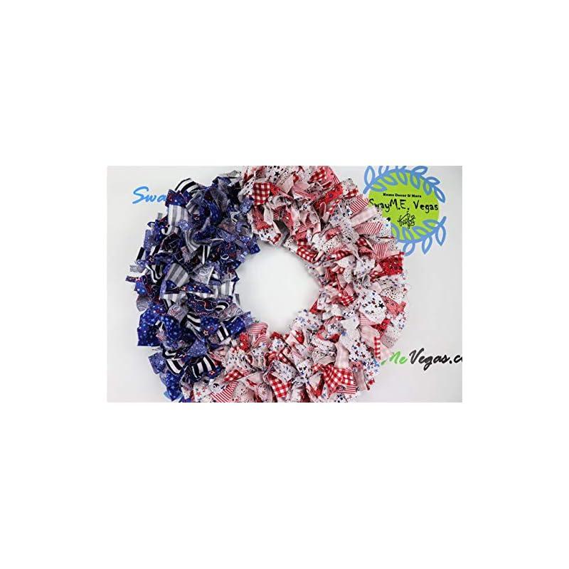 silk flower arrangements american flag rag wreath, flag fabric wreath, july 4th wreath, independence day wreath, patriotic flag wreath, memorial wreath, fabric wreath,