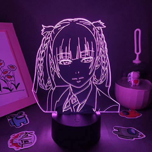 Lámpara de ilusión 3D Luz de noche LED Anime Kakegurui Figura Kirari Momobam Rgb Regalo fresco para amigo Lava Dormitorio Decoración de noche para niños Niños Niñas