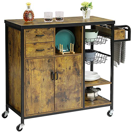 Hasuit Kitchen Island Cart on Wheels, Rolling Kitchen Island with Cabinet, Kitchen Cart with Drawers, Spice Rack, Basket and Shelves, Accent