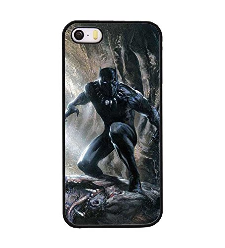 CooJedy IPhone 5 5s - Marvel DC Comics Black Panther Hard Funda Case Cover for Apple IPhone 5 5s Protective Back Funda Case for Men