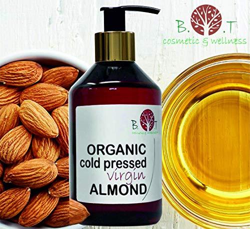 Olio Biologico di Mandorle Dolci Spremuto a Freddo - Olio di Barba, Ciglio, Chiodo, Olio per i Capelli 100% Pure Viso & Corpo (500 ml)