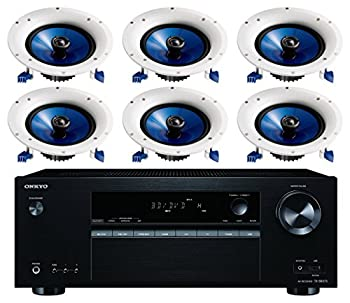 Onkyo 5.2 Channel Full 4K Bluetooth AV Home Theater Receiver + Yamaha Natural High-Performance Moisture Resistant 2-Way 110 watts Surround Sound in-Ceiling Speaker System  Set of 6