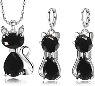 Almusen Little cat Jewelry Set for Women Plating Cubic Zirconia Earrings and Necklace Set Valentine's Jewelry Gift Birthda...