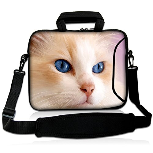 15'- 15.6' inch Tablet Laptop Notebook MacBook Case Bag with Handle and Strap Pouch Protective Skin Cover by Funky Planet Bags/Cases (Pink Cat)