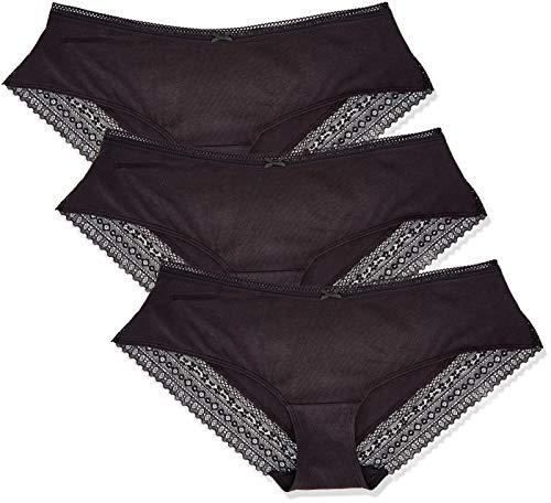 Amazon-Marke: Iris & Lilly Damen Shorts aus Baumwolle, 3er-Pack, Schwarz (Black), XL, Label: XL
