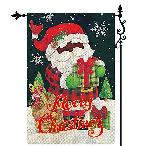 Coskaka Merry Christmas Garden Flag Snowflake Christmas Tree Xmas Cute Black Santa Claus Flag Gift Bag Vertical Double Sided Rustic Farmland Burlap Yard Lawn Outdoor Decor 12.5x18 Inch