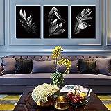 ganlanshu Lienzo nórdico Pintura al óleo 3 Carteles Fondo Negro Foto Gris Azul Oro Rojo Plumas,Pintura sin marco-60x80cmx3