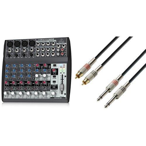 Behringer XENYX 1202 Mischpult + Adam Hall Cables K3TPC0300 Audiokabel 2 x Cinch male auf 2 x 6,3mm Klinke mono 3m Bundle