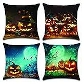 HuifengS Happy Halloween Fundas de cojín de algodón Fundas de Almohada de Lino Pumpkin Theme Sofa Decoración de casa Throw Pillow Case 4 Piezas, 45 x 45 CM