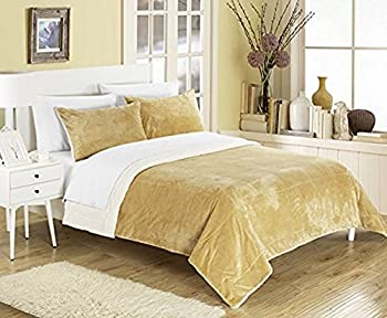 Chic Home Evie 2 Piece Blanket Set Soft Sherpa Lined Microplush Faux Mink with Sham Twin XL Camel