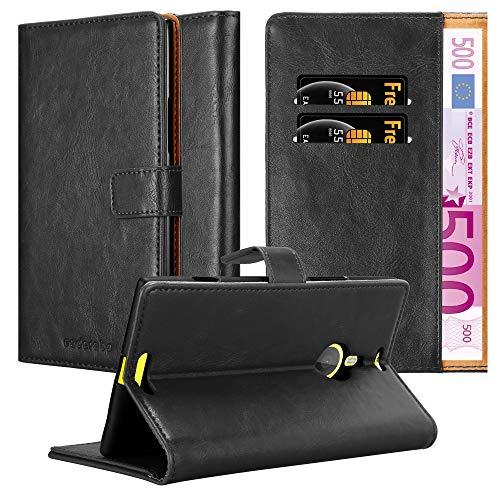 Cadorabo Hülle für Nokia Lumia 1520 in Graphit SCHWARZ – Handyhülle mit Magnetverschluss, Standfunktion & Kartenfach – Hülle Cover Schutzhülle Etui Tasche Book Klapp Style