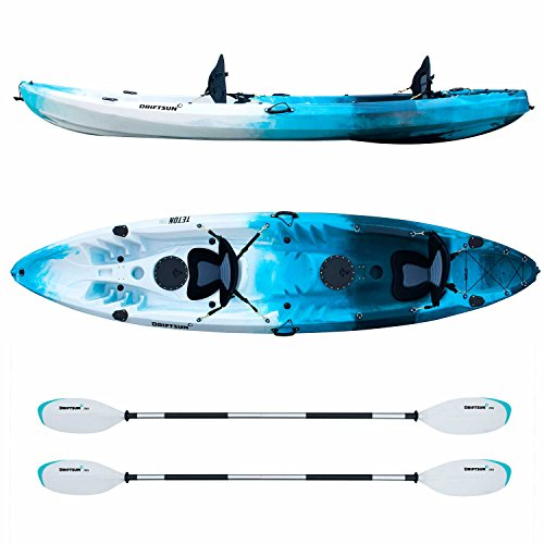 Driftsun Teton 120 Hard Shell Recreational Tandem Kayak, 2 or 3 Person Sit On Top Kayak Package with 2 EVA Padded Seats, Includes 2 Aluminum Paddles and Fishing Rod Holder Mounts, Blue/White