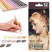 12肌のトーン色鉛筆、初心者アーティストの塗り絵のスケッチのアートのための油性の事前に削った鉛筆