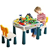 Sandinrayli 6-in-1 Kid Activity Table Set w/2 Chairs & 71 Large Blocks, Compatible with Classic Blocks, Water/Sand Table Building Block Table for Toddler