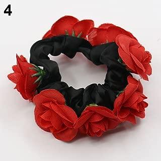 qsbai Women Girls Fashion Hairband Floral Flower Bun Elastic Bridal Garland Hair Band Wedding Decoration Red