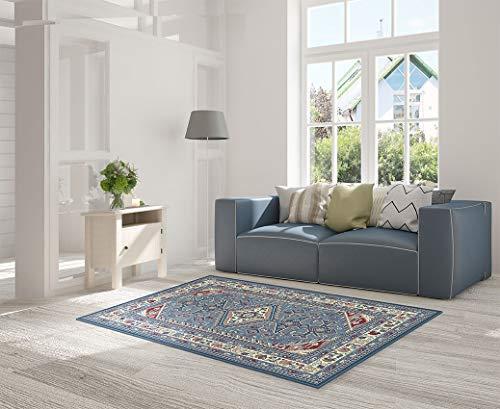 HomeLife - Alfombra de estilo persa / oriental - Alfombra de algodón para salón/dormitorio/salón con fondo antideslizante - Impresión digital de inspiración oriental - Color rojo/beige