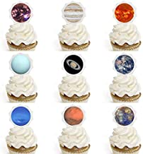 Astra Gourmet Outer Space Cupcake Toppers - Planets Space Cupcake Toppers for Cake, Dessert, Sandwich Decoration Solar System Galaxy Party Decorating, 27pcs Pre-Cut
