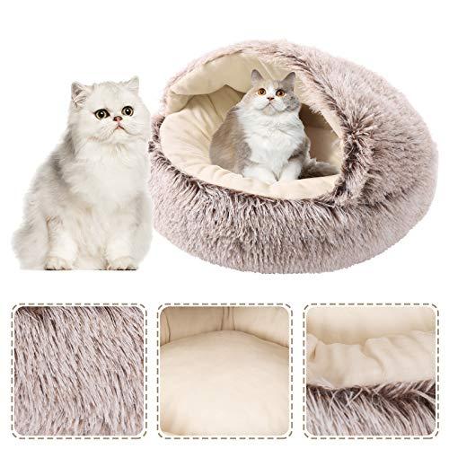 NIBESSER Katzenbett Flauschig Katzenhöhle Weich 2 in 1 Faltbar Kuschelhöhle Katzenschlafsack Plüsch-Katzenbett für Katzen und Welpen