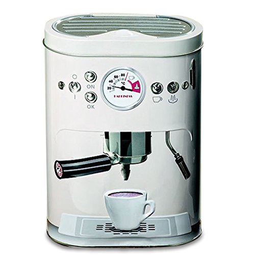 WHW Whole House Worlds Barista Cookie Tin, Realistic Espresso Machine Shape, Vanilla White, Graphic Gadget Accents, 5 L x 3 W x 7.5 H Inches, Food Safe, Fitted Lid, Air Tight Storage, Box, Container