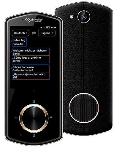 simvalley MOBILE Übersetzer: Mobiler Echtzeit-Sprachübersetzer, 75 Sprachen, mit Kamera, 4G & WLAN (Echtzeitsprachübersetzer)