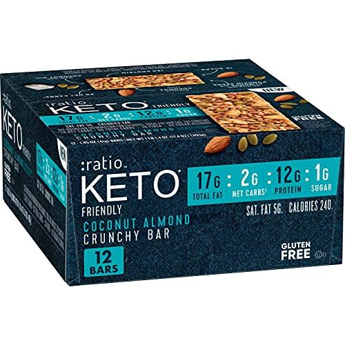 :ratio Keto Friendly Coconut Almond Crunchy bar, 12Count