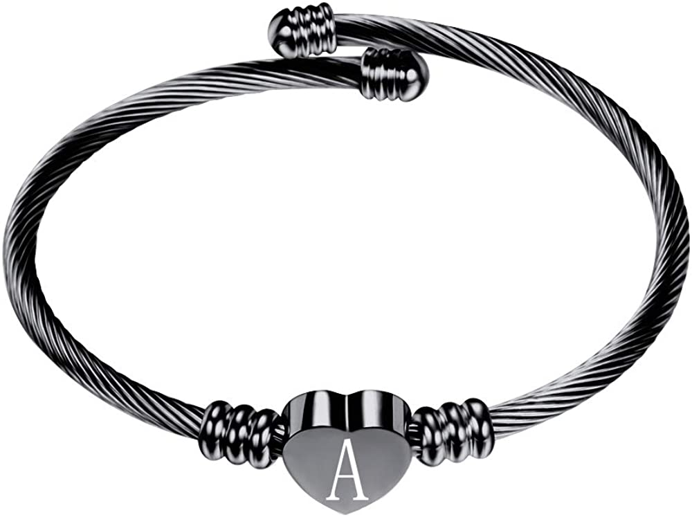 VQYSKO Silver Heart Initials Bracelet-A-Z Stainless Steel Engraved Charm Bracelet, Woman Girl Jewelry Birthday Festival Gift