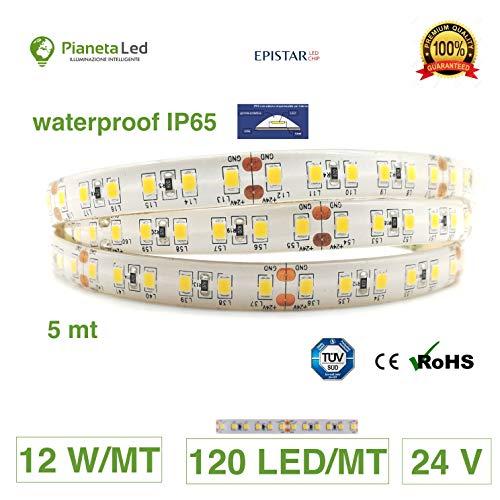 Rouleau 5 mètres bande lumineuse 600 lED 3014 sMD lumière blanche chaud 3000 K 5 m 24 V DC avec adhésif double face 3 M et protection en parylene IP67 pour extérieur Warm White Mod. Premium