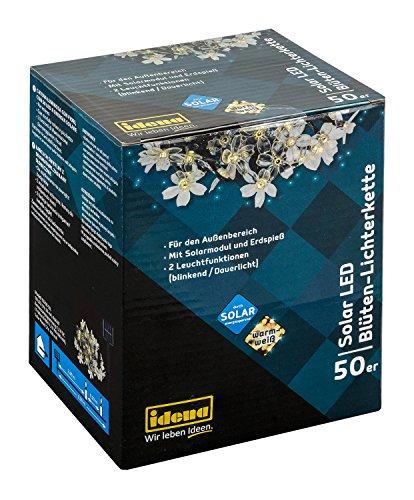 Idena 30131 - Blumenlichterkette, LED Lichterkette mit 50 LED warmweiß in Blütenform, Solar betrieben, für Hochzeit, Party, Deko, Garten, Balkon, als Stimmungslicht, ca. 6,9 m