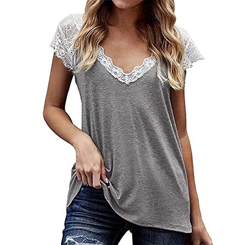 PRJN Tops de túnica de Manga Corta con Cuello en V para Mujer Camiseta de Encaje con Pliegues en la Parte Delantera Camiseta de Manga Corta con Cuello en V para Mujer Camisetas de Mujer