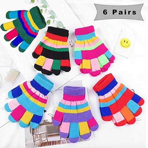 6 Paare Stretch Vollfinger Handschuhe,vollfinger Handschuhe Kinder,Winter Warme Strickhandschuhe für Jungen und Mädchen,kinderhandschuhe vollfinger (Zufällige Farbe)