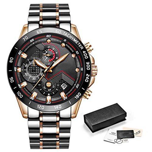 ZTT Herrenuhren Luxuxedelstahl Blaue wasserdichte Quarz-Uhr-Mann-Mode-Chronograph Male Sport Military Watch,A