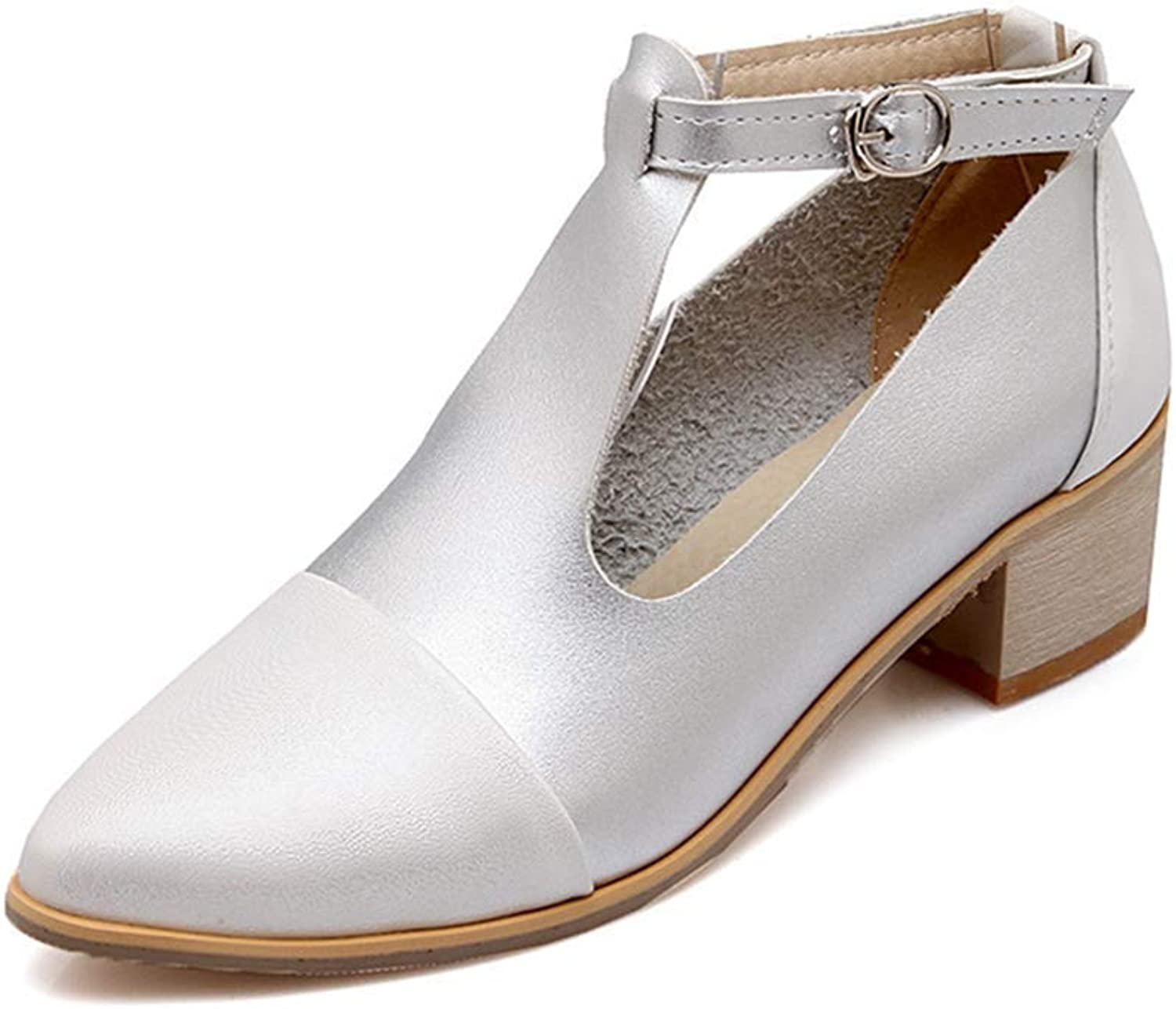 Elsa Wilcox Women Mary Jane Platform Buckle Strap Chunky Mid Heel Dress shoes Pointed Toe T-Strap Oxford Pumps