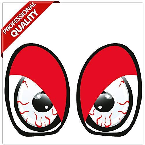 SkinoEu® 2 Stück Vinyl Lustiger Aufkleber Autoaufkleber Funny Stickers Evil Eyes Bösartig Augen Auto Moto Motorrad Fahrrad Skate Helm Fenster Spiegel Tür Tuning B 86