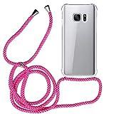 MyGadget Funda con Cuerda para Samsung Galaxy S7 - Carcasa Transparente en Silicona TPU Suave con Cordón - Case y Correa Colgante Ajustable - Color Rosa