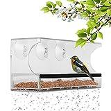 BAVISION Fenster Vogelfutterspender mit 3 Superstarken Saugnäpfen Abnehmbare Samen Tablett Abflusslöcher Aus Klarem Starken 11