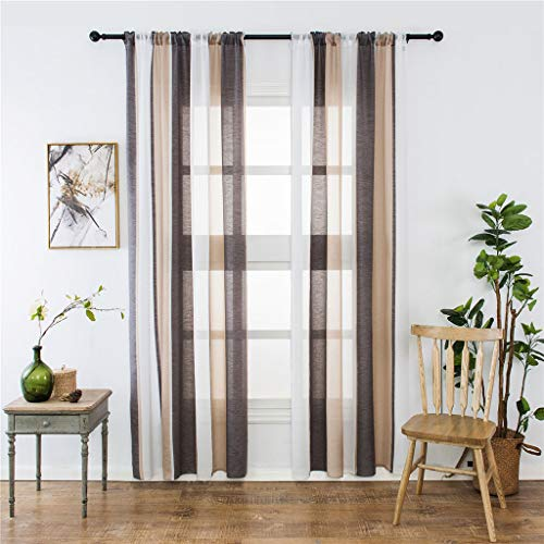 2 STÜCKE Transparente Vorhänge mit Ösen Streifen Voile Gardinen Dekoschal Fensterdekoration für Wohnzimmer und Küche, Tüll Gardine Gardine Voile Vorhänge Vorhang (Weiß)