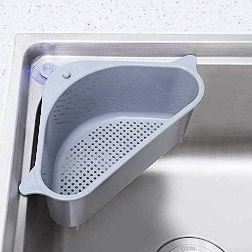 HELLOGIRL Kitchen Storage Rack Multi-Function drainable Hanging Storage Box Without Punching Perforated Sink Basket Triangle Kitchen Sink Shelf Drain Rack Bathroom Hanging Storage Holder Basket