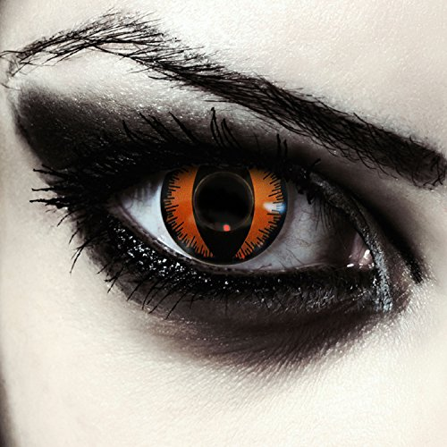 Designlenses Orangene Drachen Augen Kontaktlinsen für Karneval oder Halloween Kostüm Farblinsen + gratis Kontaktlinsenbehälter